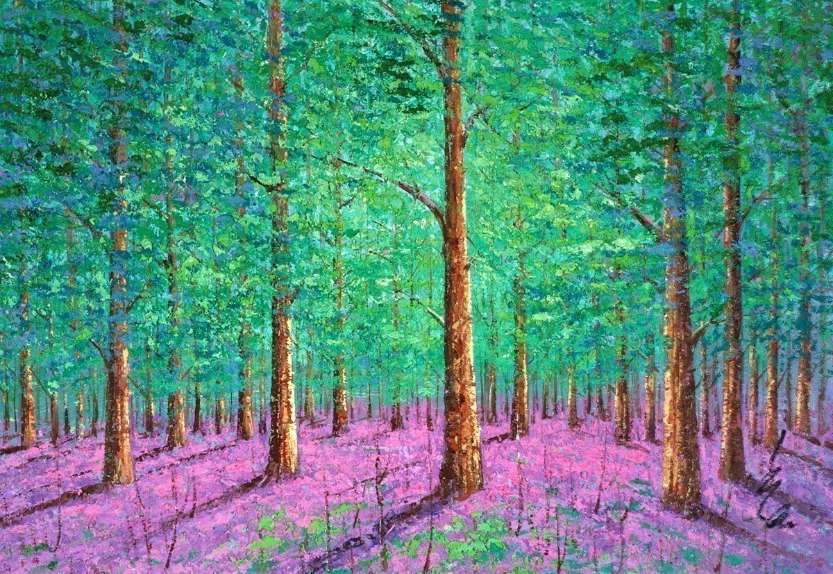 Green Trees V by Inam -  sized 49x34 inches. Available from Whitewall Galleries